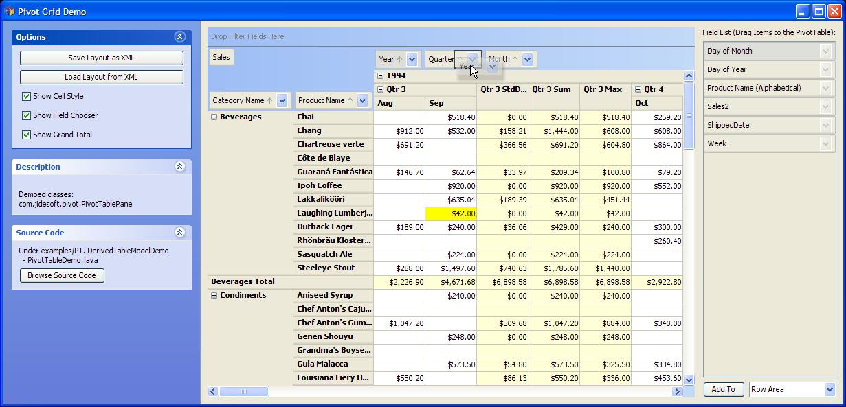 jide software jide pivot grid a pivot table component in java swing