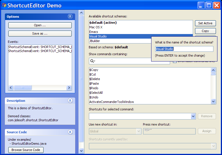 JIDE Software - JIDE Shortcut Editor - A Fully Customizable Keymap